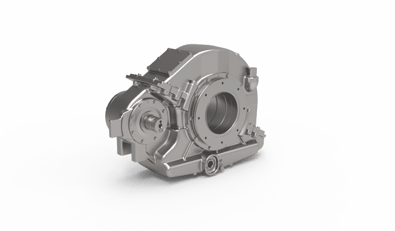 Semi-suspended helical 1-stage gearbox for High Speed