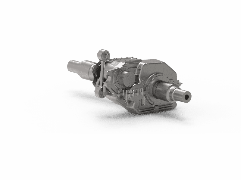 Semi-suspended helical 2-stage gearbox