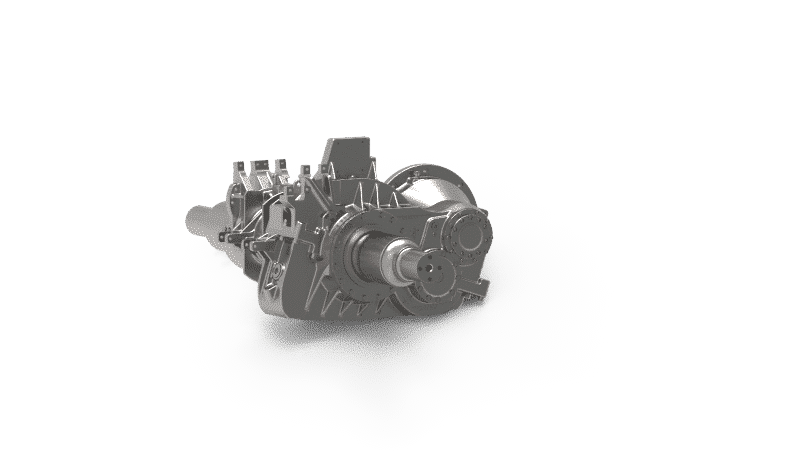 Nose-suspended helical 2-stage gearbox