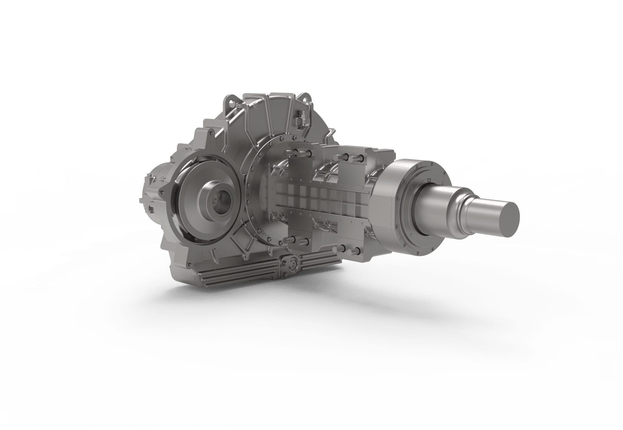 Nose-suspended helical 1-stage gearbox