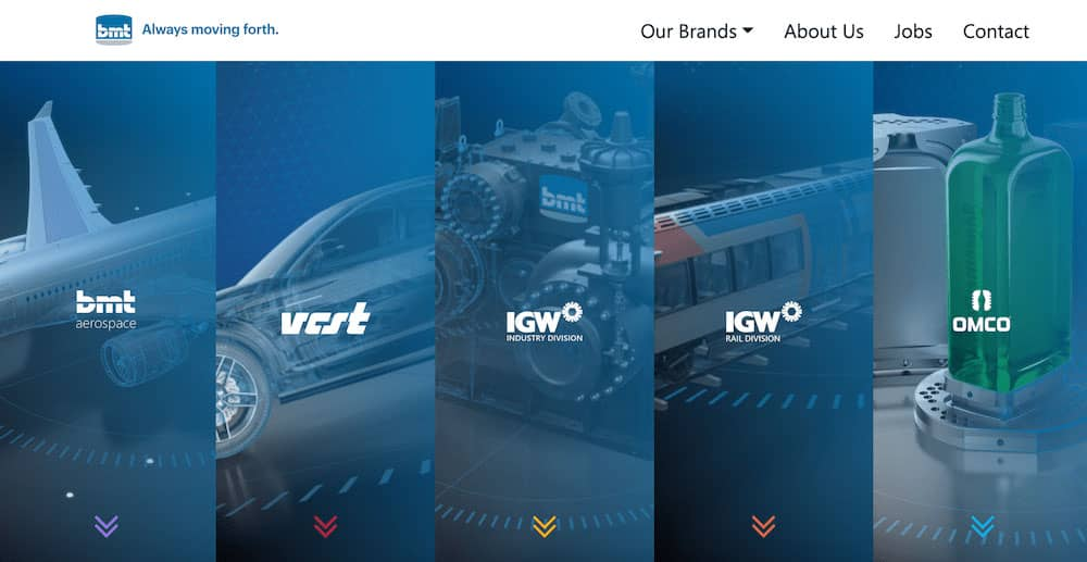 Homepage of the new BMT Group website